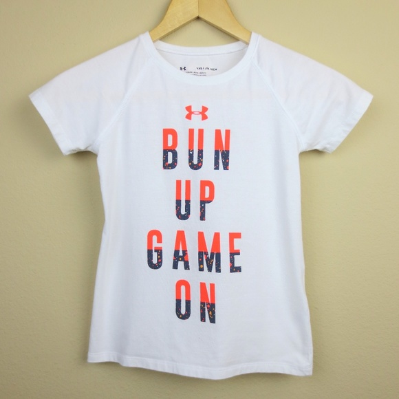 53059eb0 Under Armour Shirts & Tops | Girls Bun Up Game On Short Sleeve Tee ...